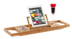 natural bamboo bathtub caddy tray organizer with book tablet