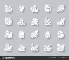 Crystal Simple Paper Cut Icons Vector Set Stock Vector C Suesse