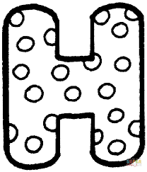 Letter H with Polka Dot coloring page
