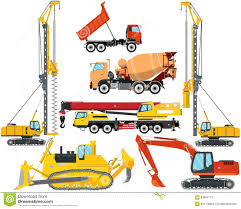 Types Of Construction Equipment Stock Vector - Illustration Of ...