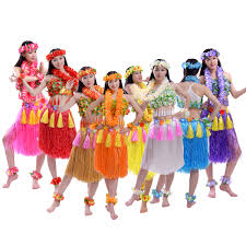Details About Hawaiian Party Hula Skirt Simulation Leaves Adult Children Swing Dance Skirts