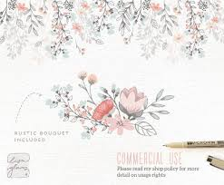 Floral Border Bouquet Rustic Hand Drawn Clipart Wedding Invitation Commercial Use PNG Vector Flowers CM0062f1