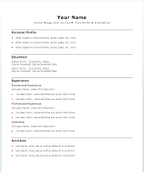 Resume Template Sample Word Easy Example Basic For Highschool Students