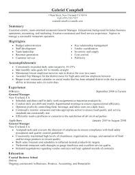 Restaurant Manager Resume Examples 2016 Samples General