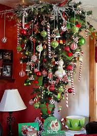 Whimsical Red White Green Upside Down Christmas Tree This Would Be Perfect With Luke He Wouldnt Able To Get The Ornaments