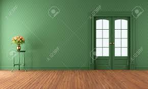 leere vintage wohnzimmer mit schiebetür rendering