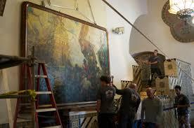 Santa Barbara Courthouse Mural Room by Dan Sayre Groesbeck U0027s U201clanding Of Cabrillo U201d Painting Returns Home