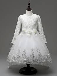 Lovely Girls Long Sleeve Dress White Frocks Children Princess Kids
