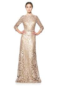 paillette embroidered lace sleeve gown tadashi shoji