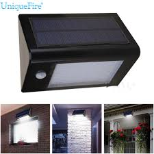 uniquefire black 20 led solar power pir motion sensor wall light
