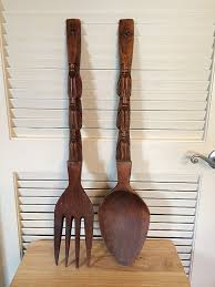 large wooden fork and spoon wall hanging design ideas oversized fork and spoon wall decor where to buy