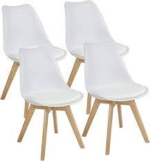 albatros esszimmerstühle aarhus 4 er set weiss mit beinen aus massiv holz eiche skandinavisches retro design
