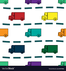 Kids Trucks Retro Background Seamless Pattern Vector Image