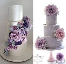 Purple and pink foral wedding cakes by Cakesalouisa left Leslea Matsis Cakes right