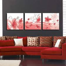 Bizhen Flowers Painting Canvas Wall Art Picture Red 3pcs With Regard To Frames Plan