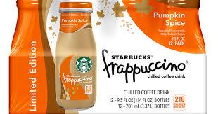 Pumpkin Frappuccino Starbucks by Bottled Pumpkin Spice Frappuccinos Starbucks On Sale