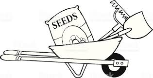 Black and White Barrow With Seeds Rake Shovel royalty free black and white