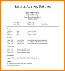 Theatre Resume Exampletheatrical Template Free Actor Acting 8 Word Printable
