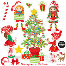 Christmas Clipart Elves Tree Commercial Use Instant Download