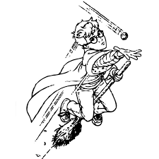 Harry Potter On A Magic Broom Free Coloring Page O