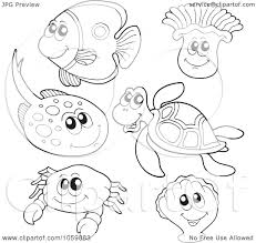 Underwater Animals Coloring Pages Sea Clipart Free