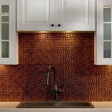 classic kitchen decor with frenzy pressed copper tile backsplash