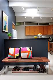 Midcentury Modern Kitchen Idea Bold Grey And Light Interior Walls Colorful Wall Decor Wood Bench