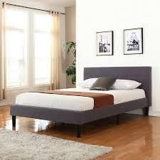 amazon com deluxe tufted platform bed frame w wooden slats