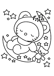 Baby Sleep Hello Kitty Coloring Pages