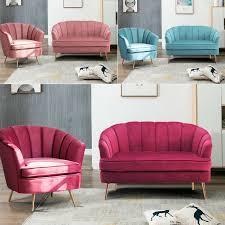 modern wohnzimmer weich samt samtstuhl lehnstuhl akzent sessel sofa 1 2 sitzer samtmöbel