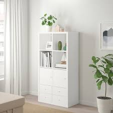 kallax shelf unit with 4 inserts high gloss white 30 3