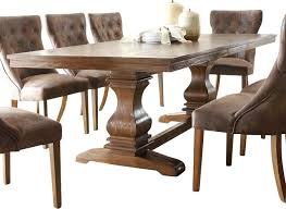 Rustic Pedestal Double Dining Table Brown Traditional Tables Cake Stand