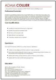 CV Example For International Students