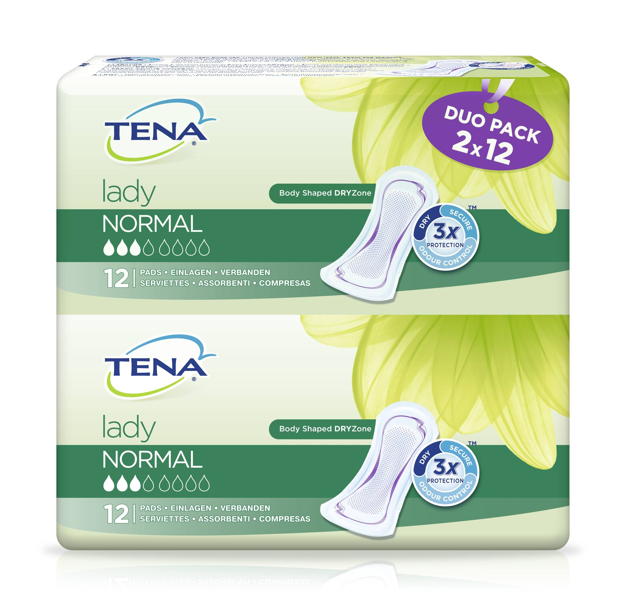 Tena Lady Normal Towels - Duo Pack, 2 x 12 Pads