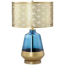 Punched Tin Lamp Shades Uk by Table Lamp Cobalt Blue Gold Table Lamp Metal Shade Black Base Uk