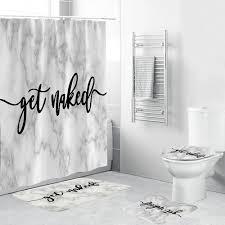 marmor weiß sie nackt dusche vorhang 4 stück badezimmer mat set weichen teppich wc abdeckung bad pad durable stoff