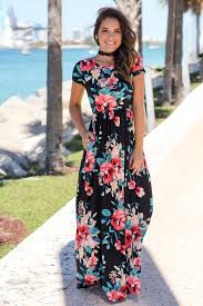 black floral short sleeve maxi dress with pockets maxi dresses