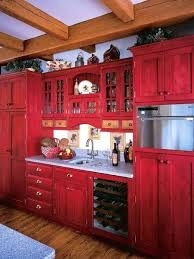 Red Kitchen Decor Cabinets Pleasing Design Rustic With Regard To