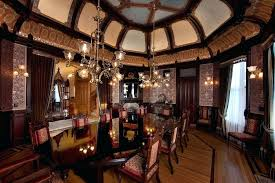 Victorian Dining Room Wallpaper Style With Black Marble Table Over Elegant Pendant