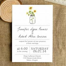 Sunflower Wedding Invitations Templates And Simple Rustic With Mason Jars As Low