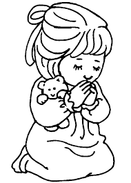 Children Praying Coloring Page Clipart Panda Free Images