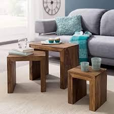 finebuy 3er set satztisch massivholz sheesham wohnzimmer tisch landhaus stil beistelltisch dunkel braun naturholz couchtisch natur produkt