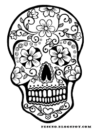 Sugar Skull Coloring Pages With Day Of The Dead