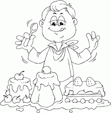 Boyeatingcake Coloring Pages Printable