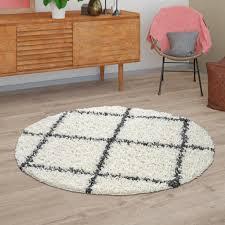 hochflor teppich shaggy für wohnzimmer skandi design u rauten muster in beige größe ø 80 cm rund