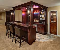 DecorationsRustic Bar Idea For Small Space With Traditional Table And Leather Stools