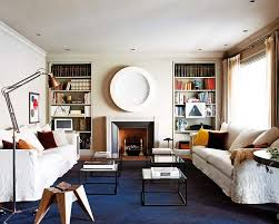 I Love How The Oceanic Blue Carpet Anchors This Neutral Living Room