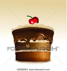 Clipart Chocolate cake with biscuit cream and cherry Vector Fotosearch Search Clip