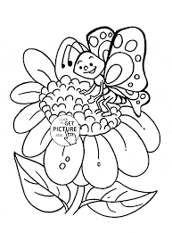 Sunflower And Cute Butterfly Coloring Page For Kids Flower Pages Printables Free