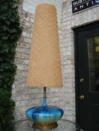 Vintage Mid Century Lamp Teak Ceramic Orange Teal Squares Genie